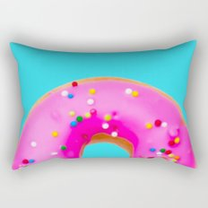 Donut, Pink Donut, Blue and Pink, Sprinkles, Rainbow, Bright, Colorful, Sweets Rectangular Pillow