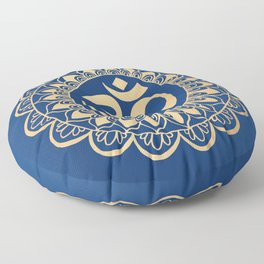 Blue and Gold Ohm Mandala Floor Pillow