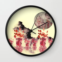 Pink Vase with Poppy Flowers Moon Wall Clock