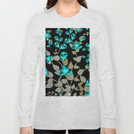 Modern abstract teal black faux gold floral Long Sleeve T-shirt