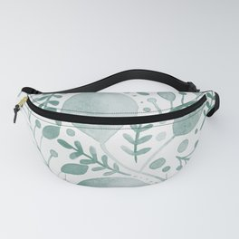 Branches and leaves - greish teal Fanny Pack