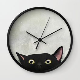 Curious Black Cat Wall Clock