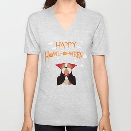 Funny Bulldog Halloween Costume | Dog Owners Happy Howl-o-Ween Unisex V-Neck
