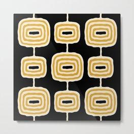 Mid Century Modern Atomic Rings Pattern 244 Black Beige and Yellow Metal Print