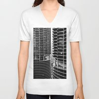 buildings V-neck T-shirts featuring Bertrand's Buildings by NickGerber