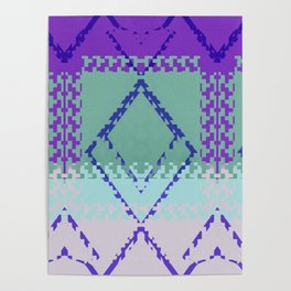 Purple mint green and blues diamond Aztec inspired Design Poster