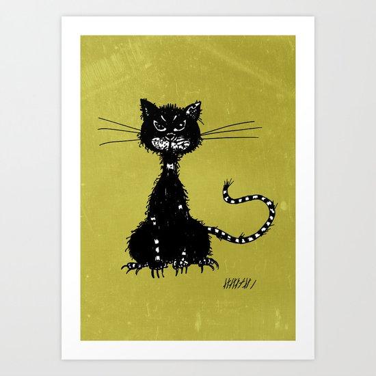 Ragged Evil Black Cat Art Print