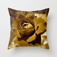 rose gold Throw Pillows featuring Gold Rose by SoCoArt