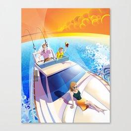 FAMILY ON YACHT Canvas Print