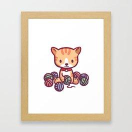 Little Kitten Playing with Yarn Framed Art Print
