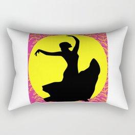 Flamenco Dancer Black Floral Rectangular Pillow