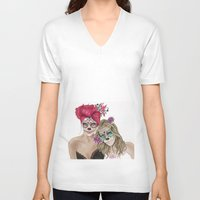 dia de los muertos V-neck T-shirts featuring Dia de los muertos by alicetischer