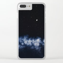 Contrail moon on a night sky Clear iPhone Case