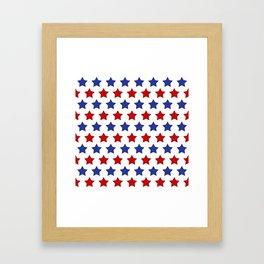 Red and Blue Stars Framed Art Print