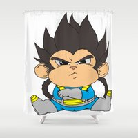 vegeta Shower Curtains featuring Monkey Vegeta by Kame Nico