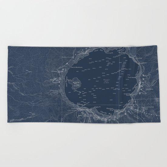 Crater Lake Blueprint Map Design Beach Towel