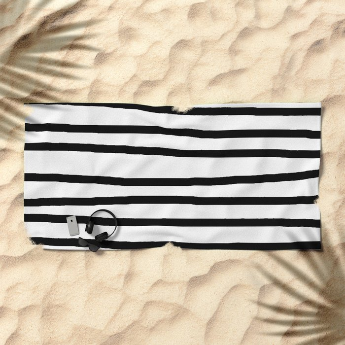 Simply Drawn Stripes in Midnight Black Beach Towel