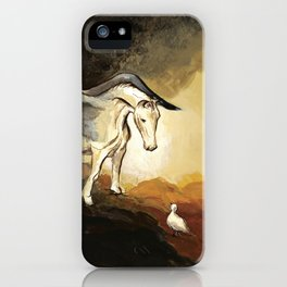 Winged horse with seagull - Silver Stream Children's Book illustration iPhone Case