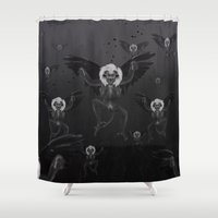 oz Shower Curtains featuring Flying Monkeys of Oz by Max Schultz