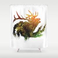 elk Shower Curtains featuring Elk by Justin Kedl