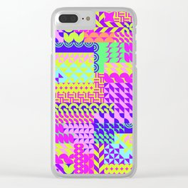 Colorful pink teal yellow abstract geometrical pattern Clear iPhone Case