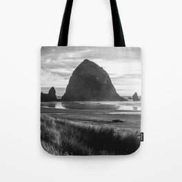 Cannon Beach Sunset - Black and White Nature Photography Tote Bag