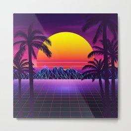 Stunning Sunset Retrowave Metal Print