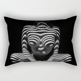 1152-MAK Abstract Nude Black & White Zebra Striped Woman Topographic Feminine Body Rectangular Pillow