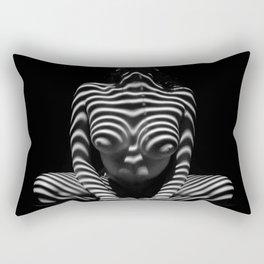1152-MAK Abstract Nude Black & White Zebra Striped Woman Topographic Feminine Body Rectangular Pillow