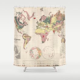 Vintage Geological Map of The World (1856) Shower Curtain