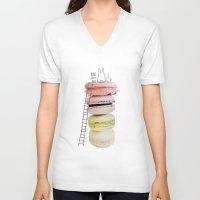 macaron V-neck T-shirts featuring Bunny & macarons by Anna Alekseeva kostolom3000