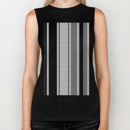 Vertical Stripes # 3 in black, gray and white Biker Tank
