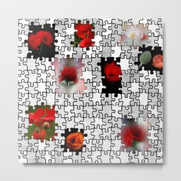 poppy love in puzzle design Metal Print