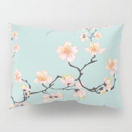 Sakura Cherry Blossoms x Mint Green Pillow Sham