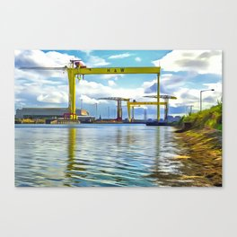 The Cranes of Belfast, Ireland. (Painting) Canvas Print