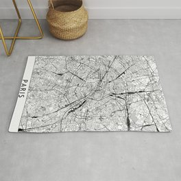Paris White Map Rug