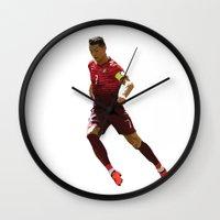 ronaldo Wall Clocks featuring World Cup - Portugal - Cristiano Ronaldo by HonickDesign