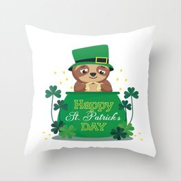 sloths Leprechaun Hat St Patrick's Day Throw Pillow