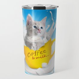 A cat in a coffee and milk cup Travel Mug