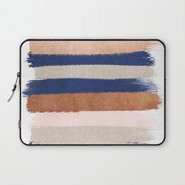 Stripes abstract minimalist painting bronze copper gold metallic stripe pattern decor nursery Laptop Sleeve
