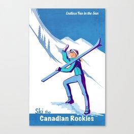 Retro Ski Canadian Rockies poster illustration Canvas Print