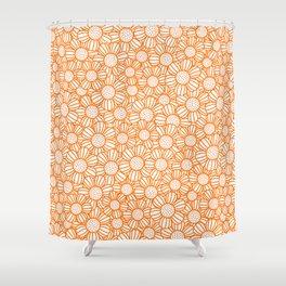 Field of daisies - orange Shower Curtain