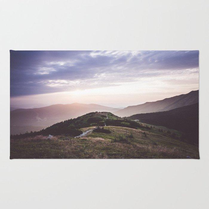 good morning mountains Rug