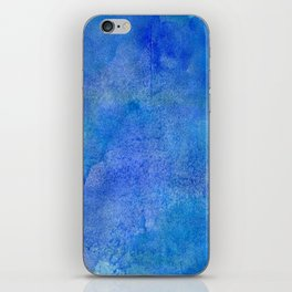 Hand painted abstract blue green watercolor brushstrokes iPhone Skin