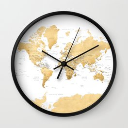 Gold world map with country capitals Wall Clock