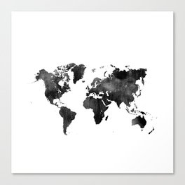 World Map | Black and White Watercolour Canvas Print