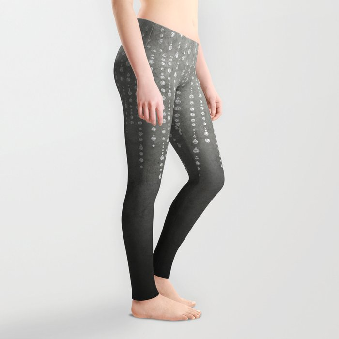 Silver Glamour Faux Glitter on grey Texture Leggings