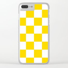 Large Checkered - White and Gold Yellow Clear iPhone Case