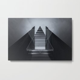 The Hotel (experimental futuristic architecture photo art in modern black & white) Metal Print
