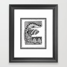 Zentangle E Monogram Alphabet Illustration Framed Art Print